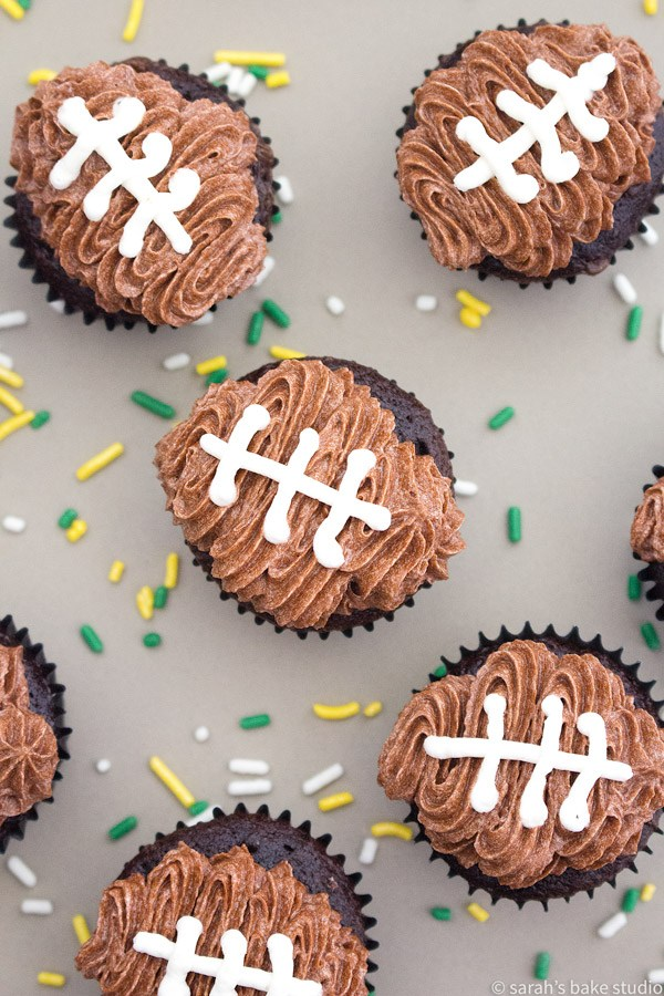 Football Cupcakes- Crazy Simple Super Bowl Food Ideas Guaranteed to Wow| Ohlade.com