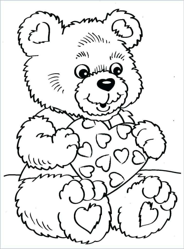Valetines teddy bear coloring page