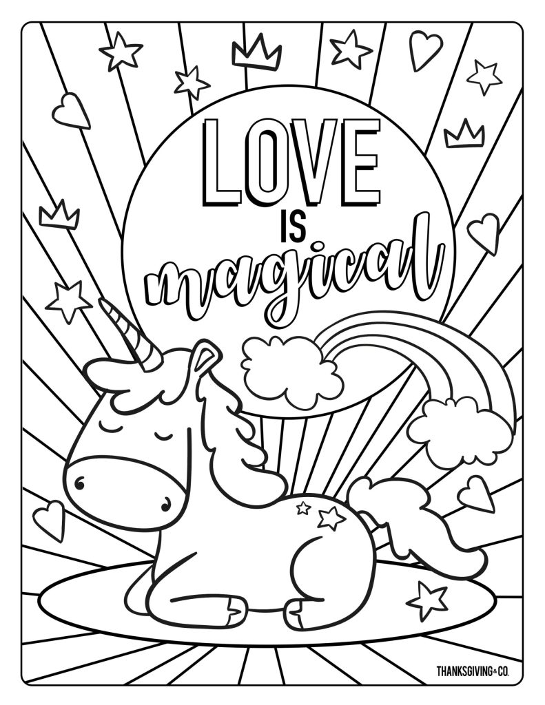 Unicorn Valetines coloring pages