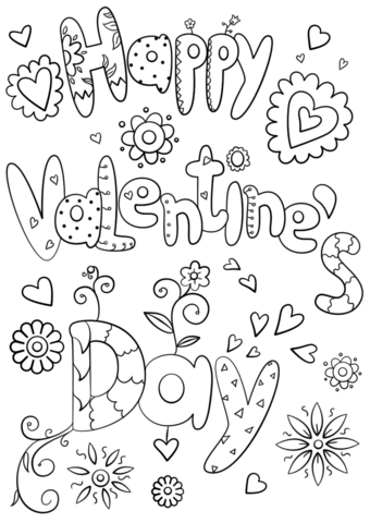Happy Valentrines Day Coloring Page