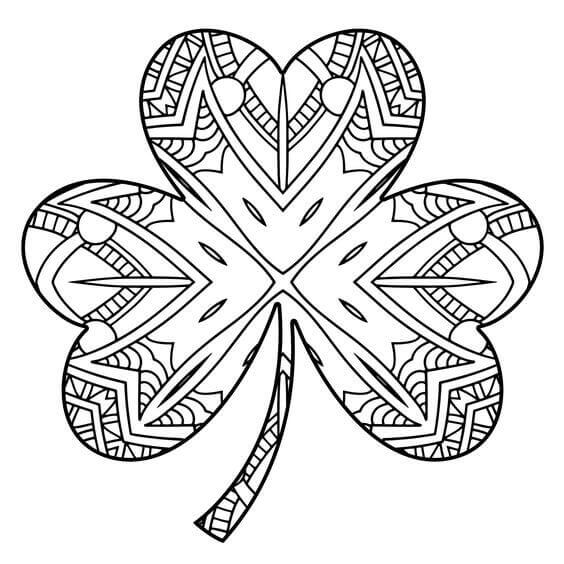 Shamrock for St Patrick's Day coloring page - Print. Color. Fun! | 564x564