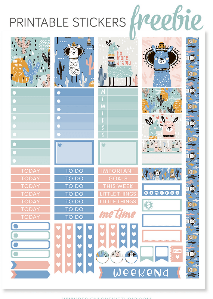 llama printable stickers for bullet journal