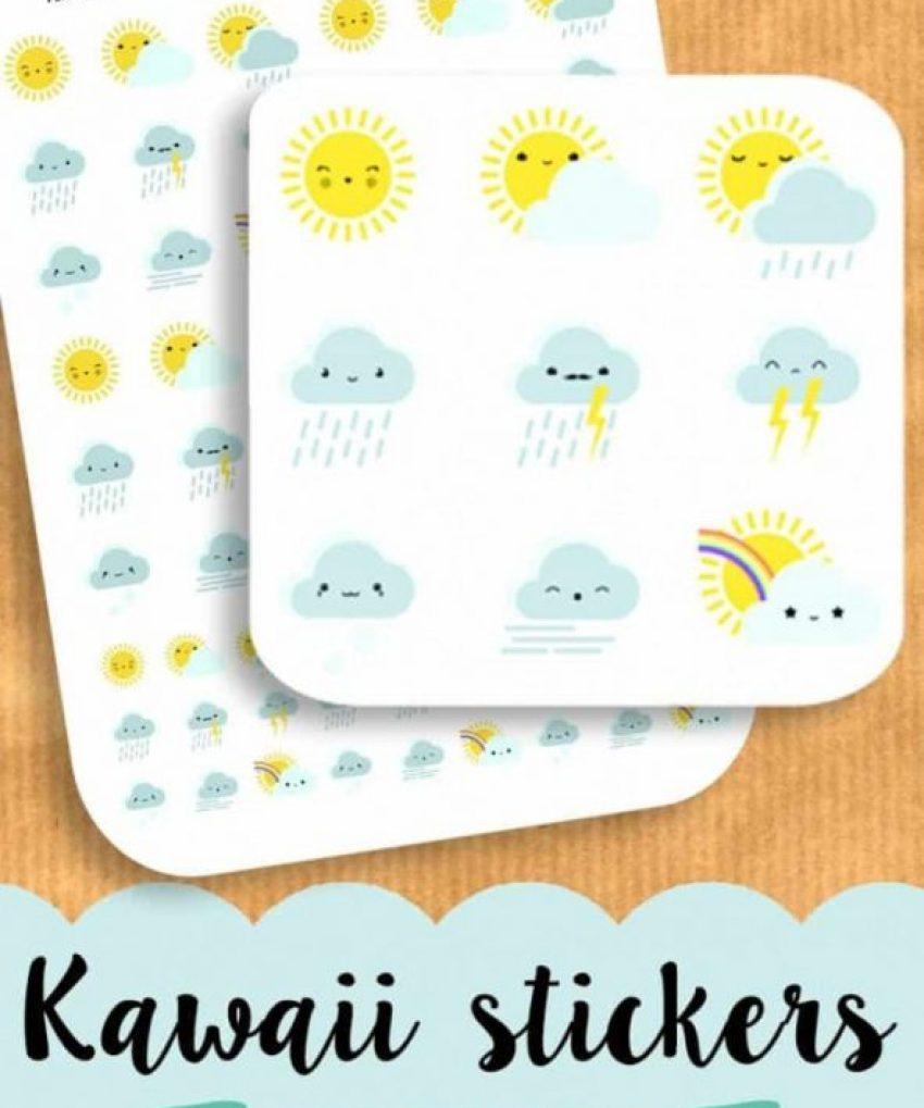 Kawaii Weather Planner Stickers