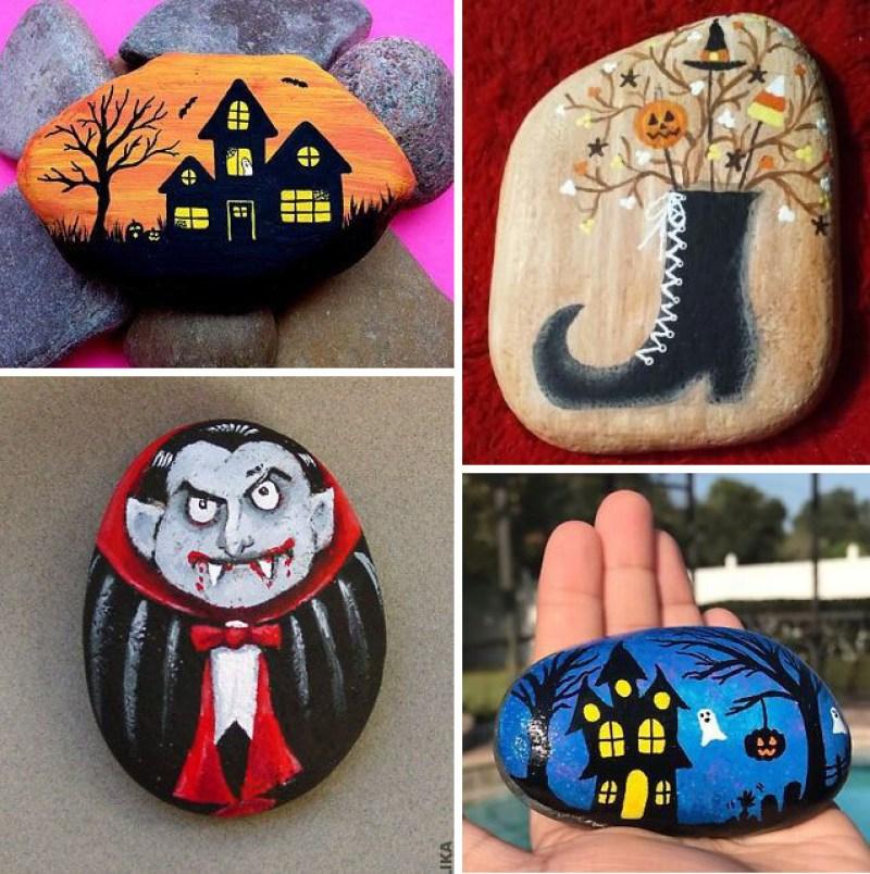 Halloween Painted Rock Designs