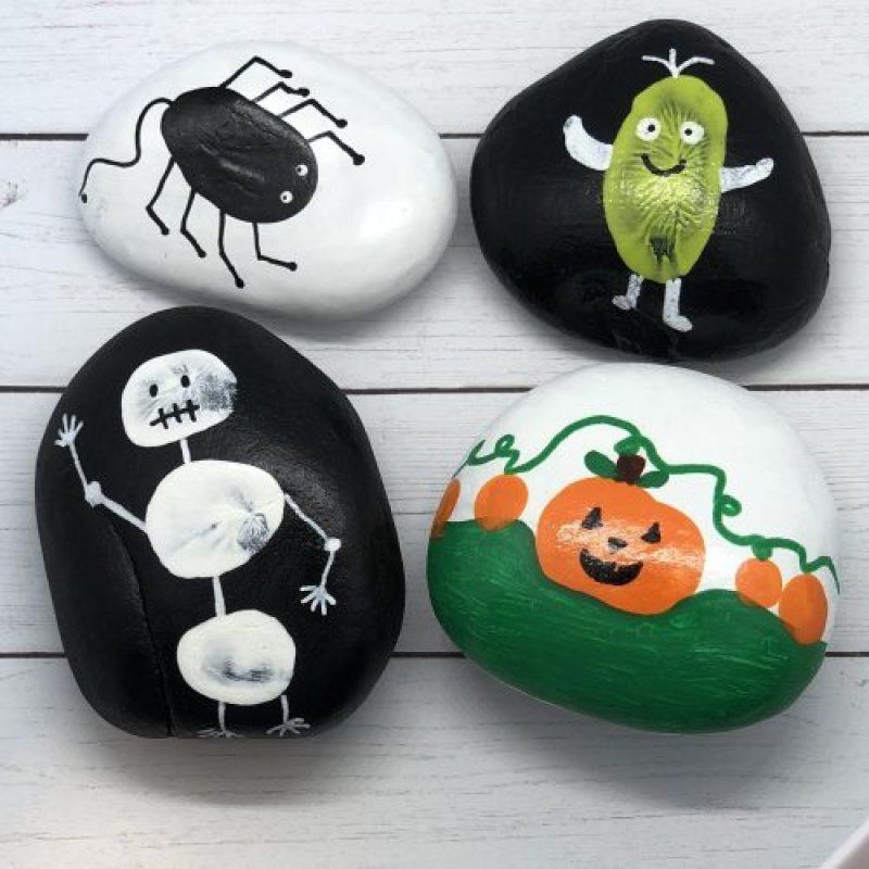 Halloween Thumb Print Painted Rocks