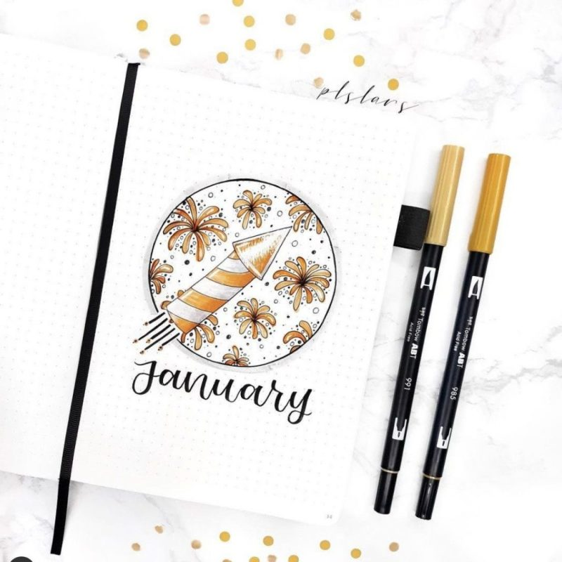 New Years January Bullet Journal Cover