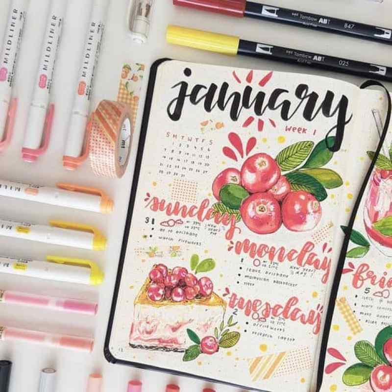 January bullet journal month