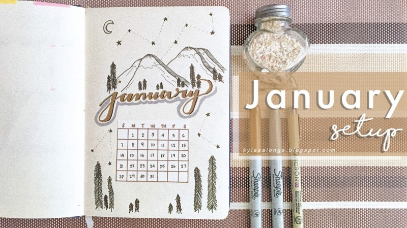 January calendar in bullet journal
