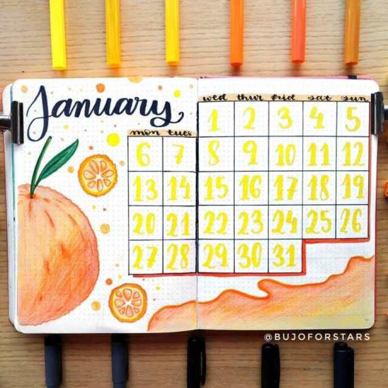 citrus january bullet journal cover