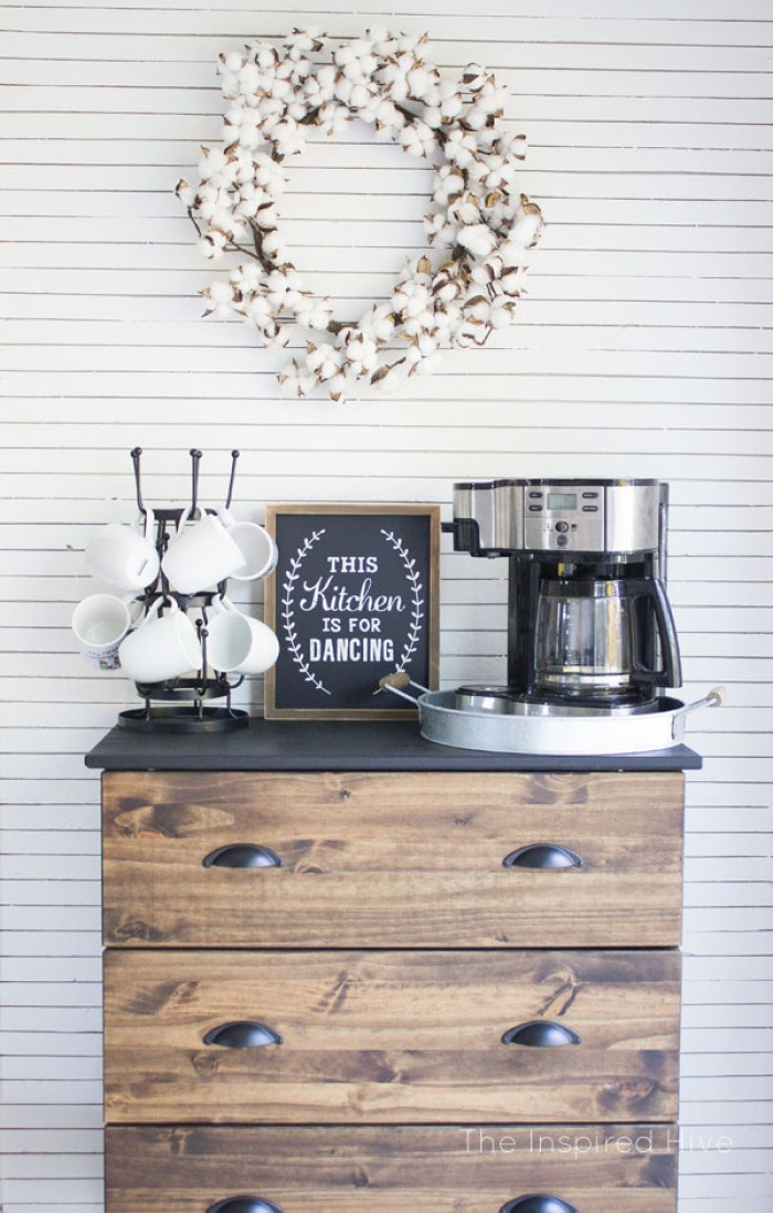 refinished shelf coffee bar station