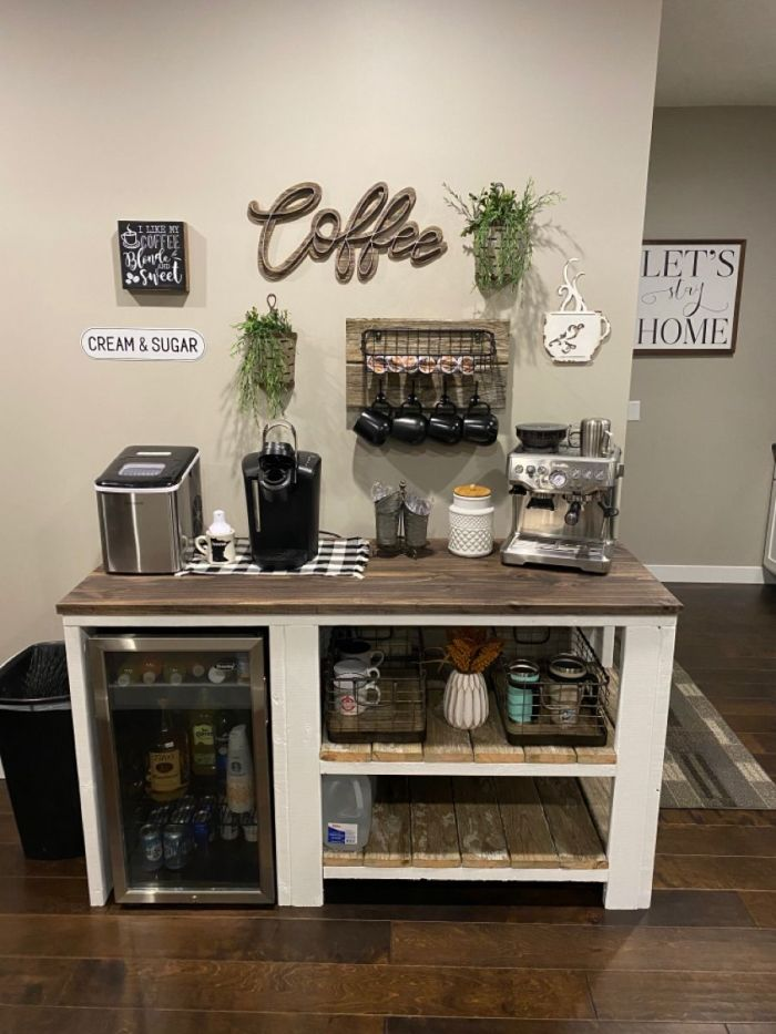 rustic coffee bar set with fridge