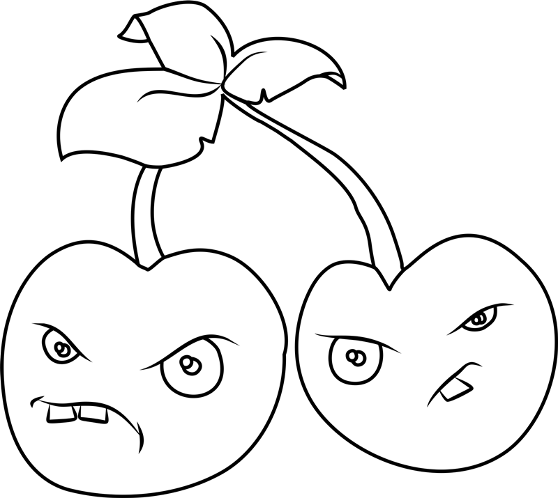 Cherry bomb Plants vs. Zombies coloring pages