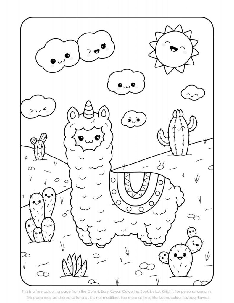 Llama Kawaii Coloring Page