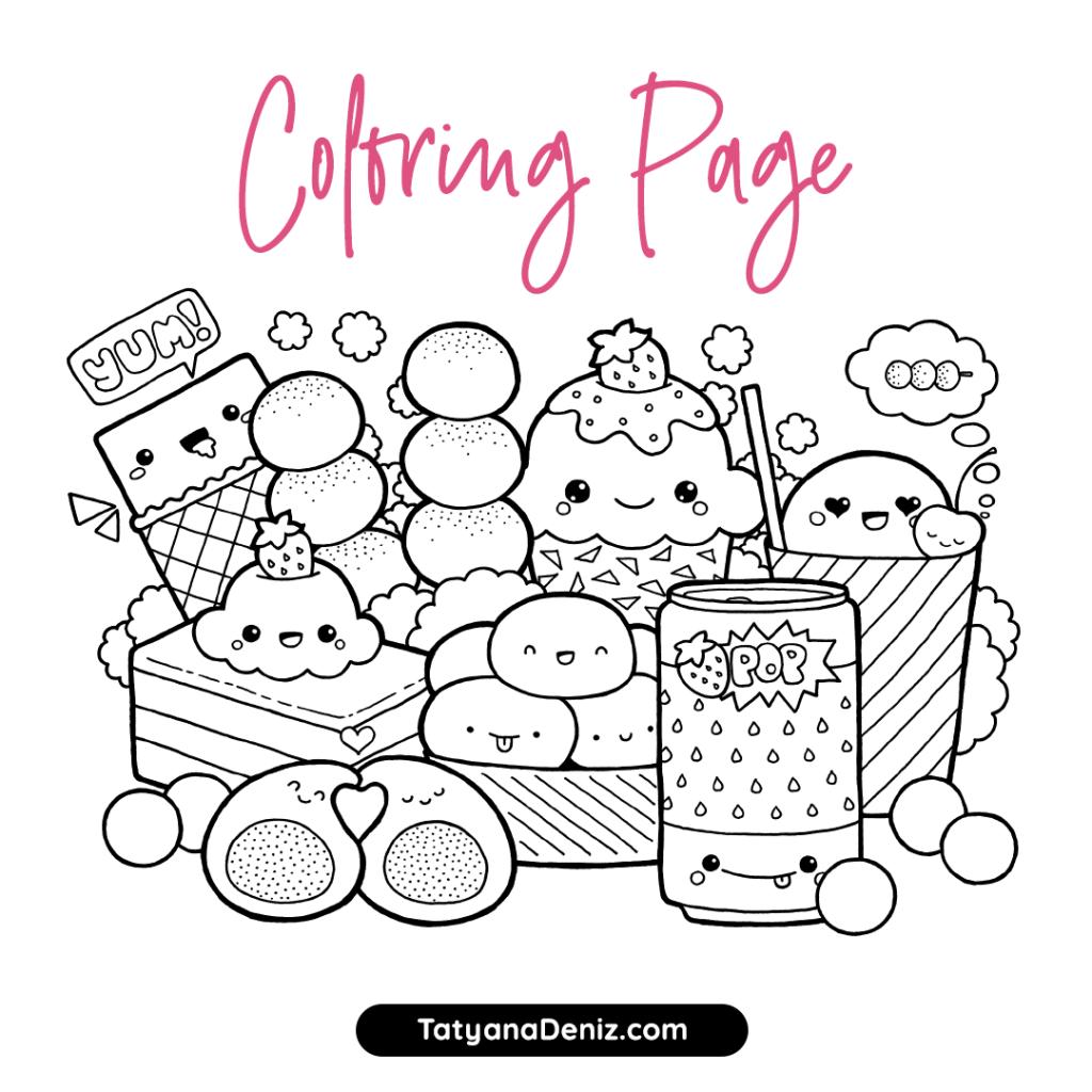 Happy Food Kawaii Coloring Pages