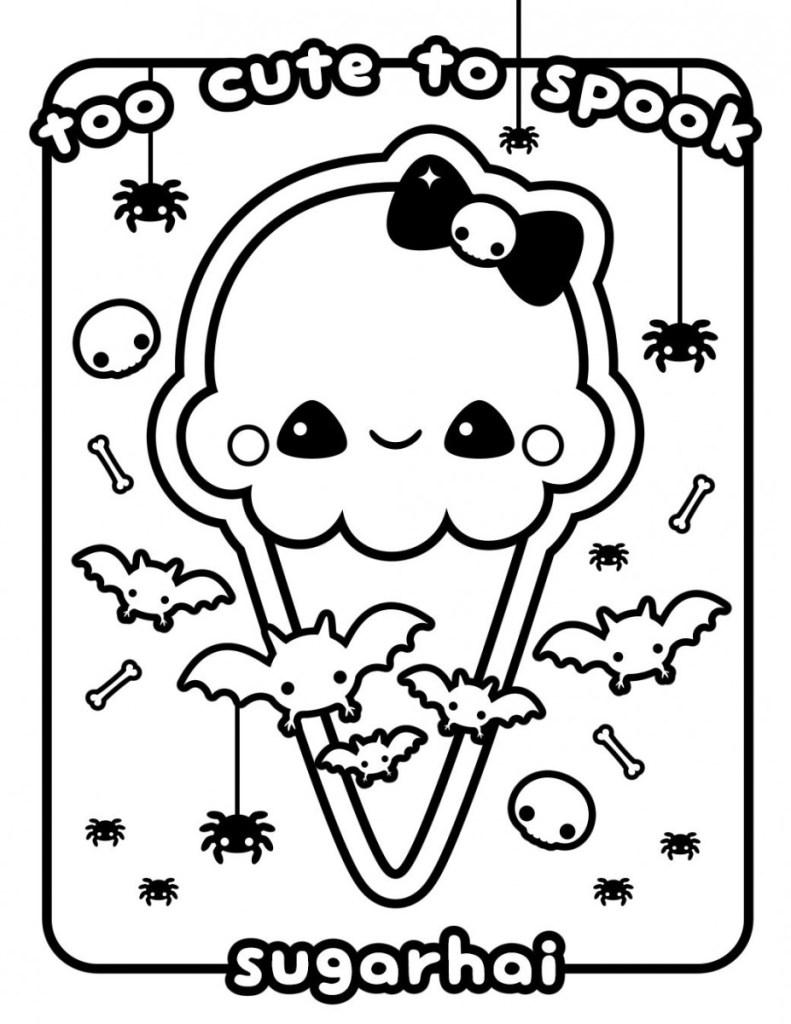 Halloween Kawaii Coloring Page
