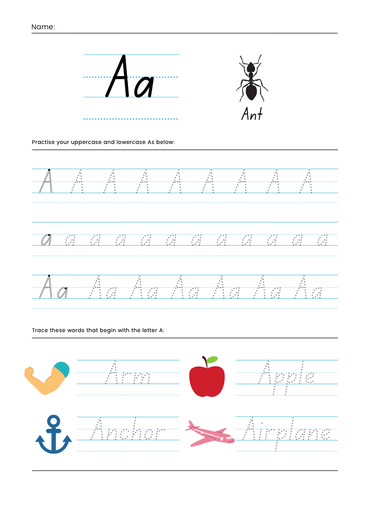 Letter aa printables