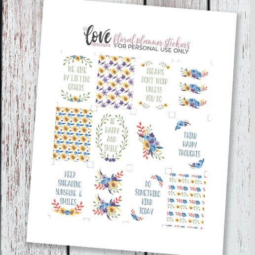 Free Floral Printable Planner Stickers