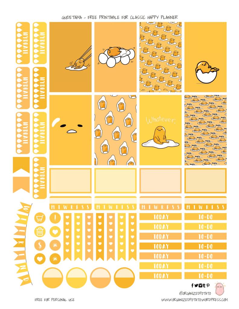 Gude Tama Printable Planner Stickers
