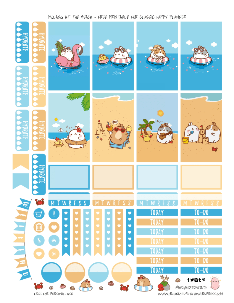 Molang Printable Planner Stickers