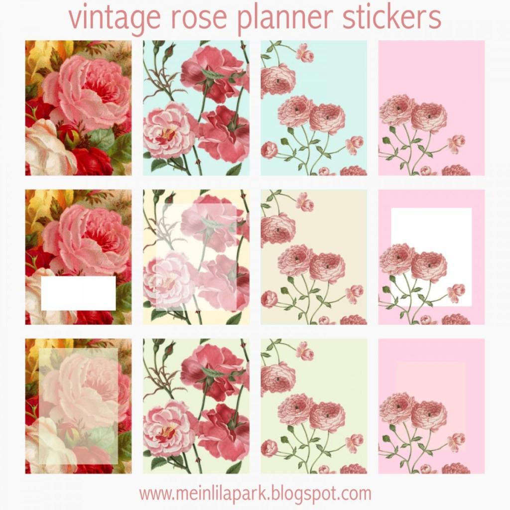 Vintage Rose Printable Planner Stickers