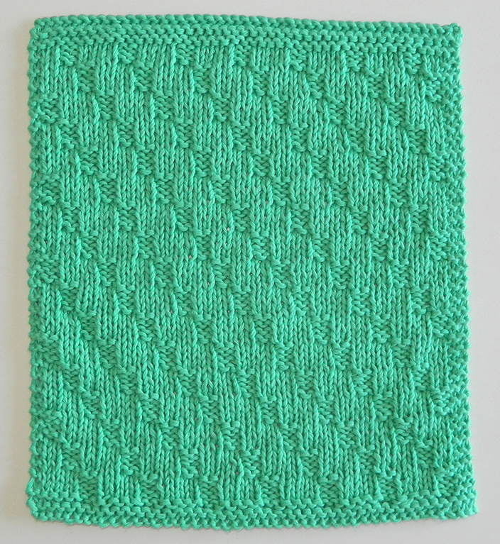 Diagonal stitch knitting pattern BLOCK 11 of 12 blocks Xmas knitted blanket OhLaLana dishcloth free pattern
