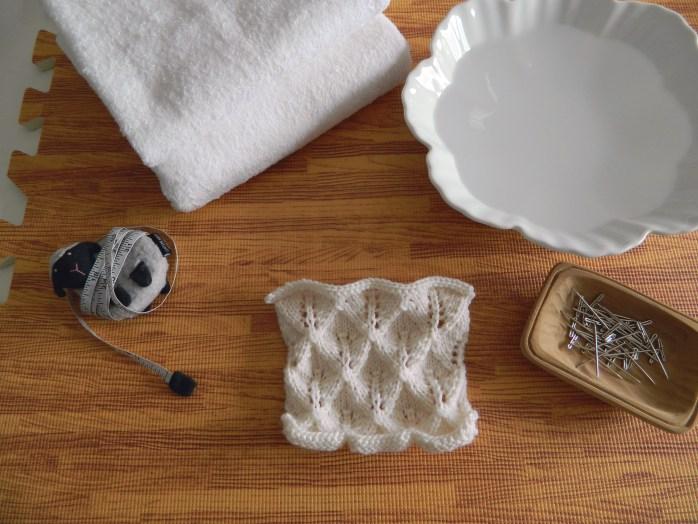 blocking knitting materials