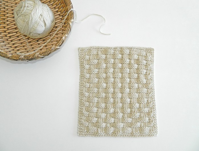 Basket stitch knitting pattern BLOCK 10 12 blocks Xmas knitted blanket OhLaLana dishcloth free pattern