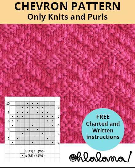 CHEVRON knitting pattern CHEVRON stitch pattern ohlalana