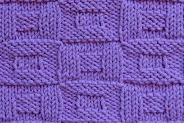 STACKED BOXES stitch knitting pattern 52 SQUARE PICKUP knitted blanket OhLaLana dishcloth free pattern