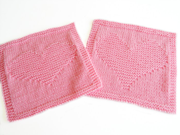 HEART dishcloth knitting pattern HEART blanket block heart square pattern ohlalana
