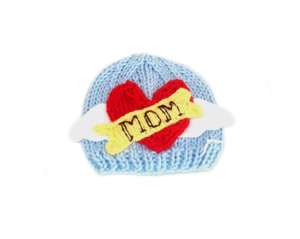ROCKER HAT baby knitting pattern TATTOO HEART baby hat I LOVE MOM baby hat pattern