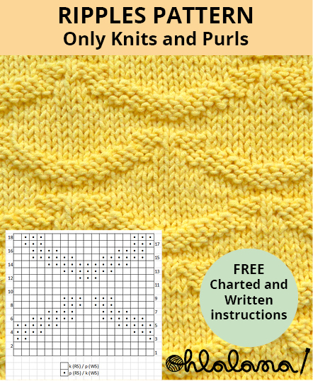 RIPPLES knitting pattern RIPPLES stitch pattern ohlalana