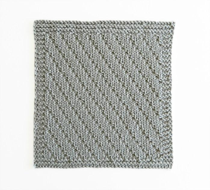 DIAGONAL stitch knitting pattern 52 SQUARE PICKUP knitted blanket DIAGONAL knitting pattern OhLaLana dishcloth free pattern