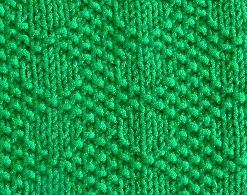 DIAMOND CHECKER stitch knitting pattern 52 SQUARE PICKUP knitted blanket DIAMOND CHECKER knitting pattern OhLaLana dishcloth free pattern
