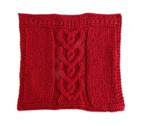 CABLED HEARTS dishcloth, VALENTINES stitch knitting pattern, VALENTINES knitting pattern, HEARTS knitting pattern, OhLaLana CABLES HEARTS dishcloth free pattern
