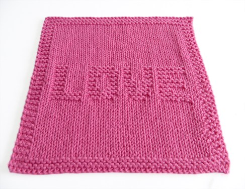 VALENTINES dishcloth, VALENTINES stitch knitting pattern 52 SQUARE PICKUP knitted blanket, VALENTINES knitting pattern, LOVE knitting pattern, OhLaLana dishcloth free pattern