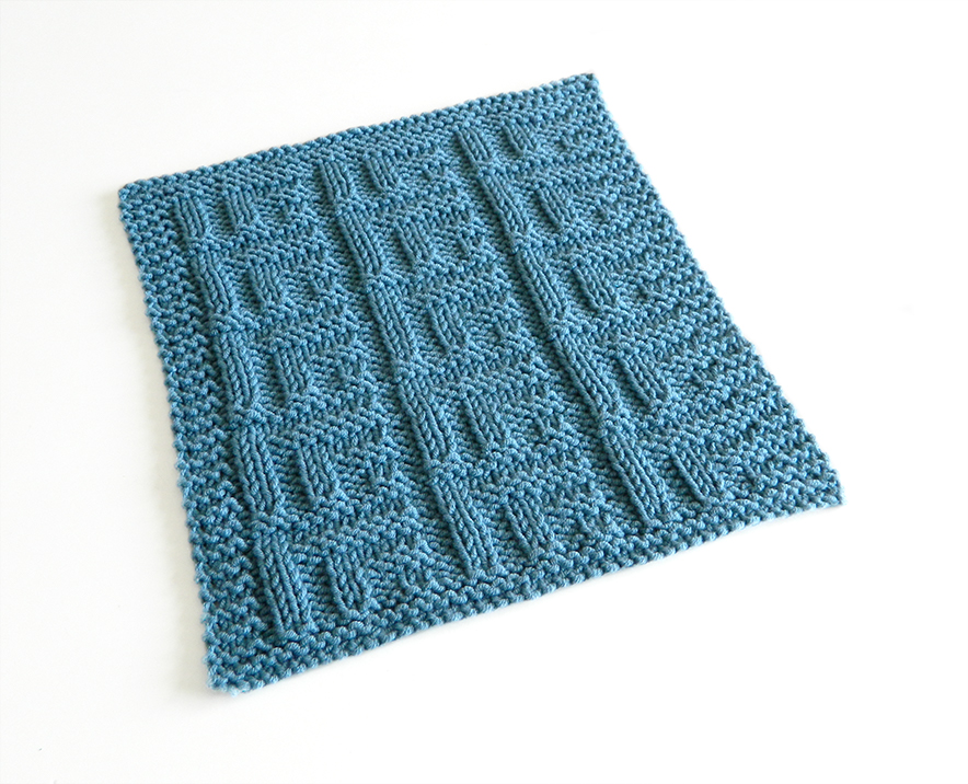 STACKED BOXES II knitting pattern, STACKED BOXES II dishcloth, 52 SQUARE PICKUP knitted blanket, block knitting pattern OhLaLana dishcloth free pattern