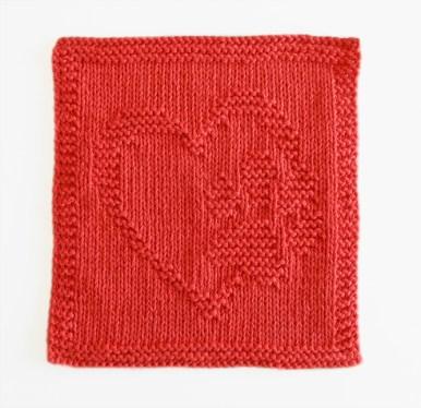 heart and paw dishcloth knitting pattern, i love dogs knitting, i love cats knitting, ohlalana, free dishcloth pattern
