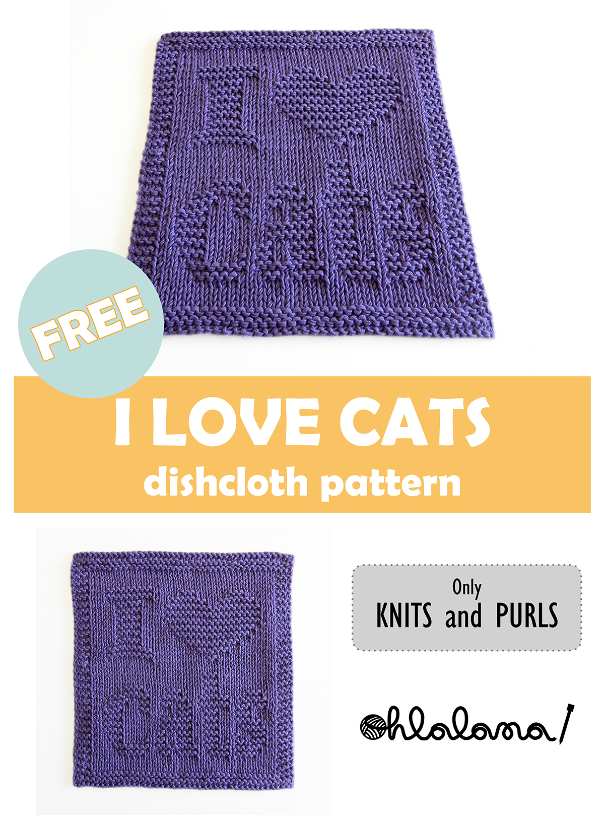 I LOVE CATS dishcloth, I LOVE CATS pattern, CAT dishcloth pattern, CAT knitting pattern, OhLaLana dishcloth free pattern