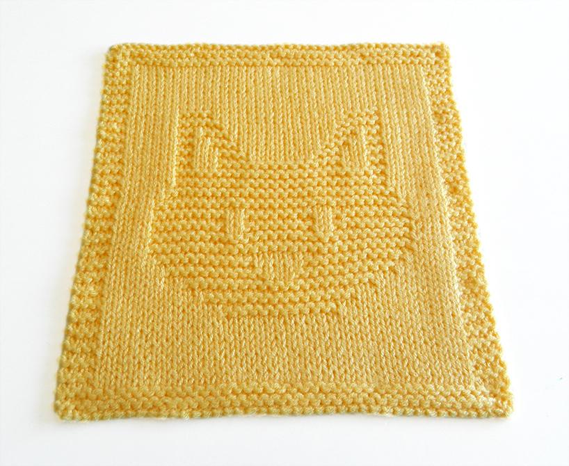 CAT HEAD dishcloth, CAT HEAD pattern, CAT dishcloth pattern, CAT knitting pattern, OhLaLana dishcloth free pattern