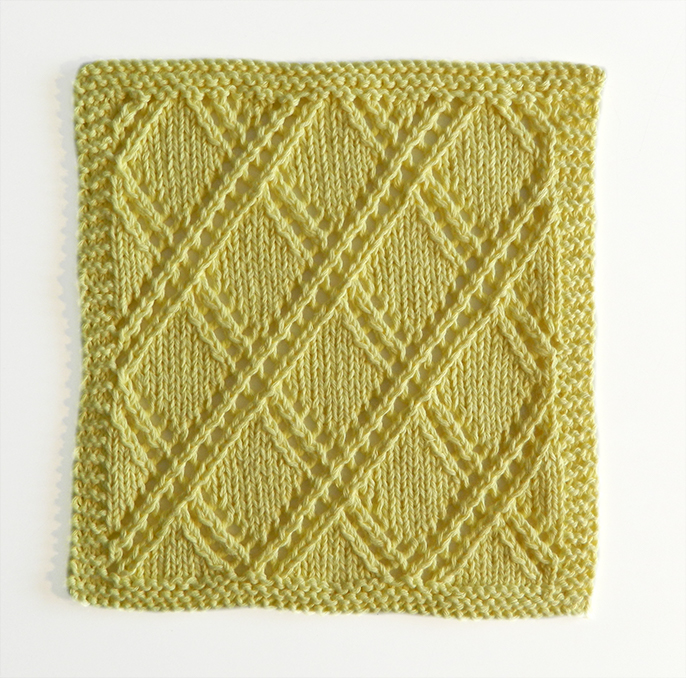 lace block pattern, lace dishcloth, lace knitting, lace knit dishcloth, lace square, ohlalana, 52 square pickup