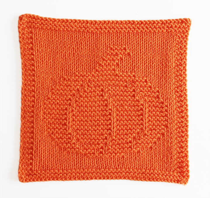 PUMPKIN knitting pattern, PUMPKIN dishcloth, PUMPKIN pattern, BEGINNER BLANKET MKAL 2020, OhLaLana dishcloth free pattern