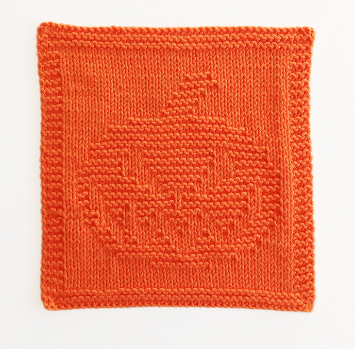 HALLOWEEN PUMPKIN dishcloth, HALLOWEEN knitting pattern, OhLaLana dishcloth free pattern