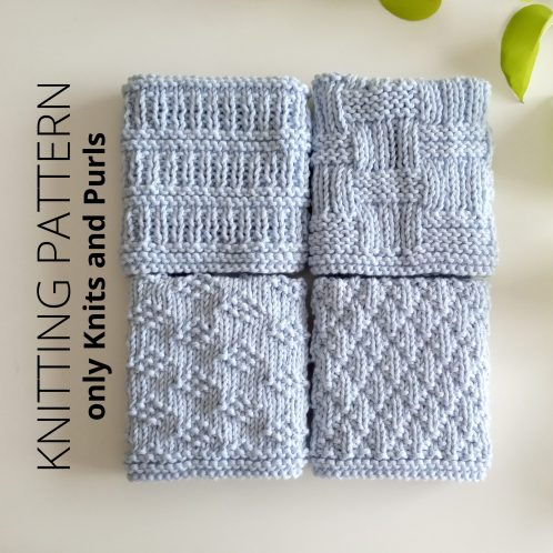 DISHCLOTH SET 2 - 4 knitting patterns for dishcloths or blocks. Includes photos, and charts. BEGINNER (only knits and purls). Oh La Lana!