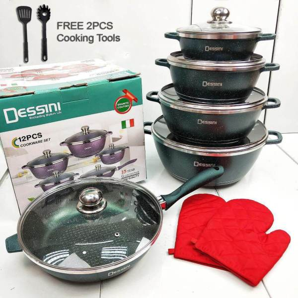 12 Dessini Itally Cookware + 2 Free Gift green
