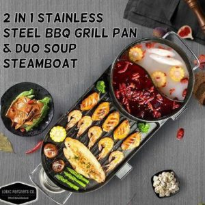 2 In 1 Stainless Steel BBQ Grill Pan And Steambot Pot