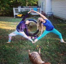 With Rain Nicole in Reverse Warrior with Dave Martin's Gong