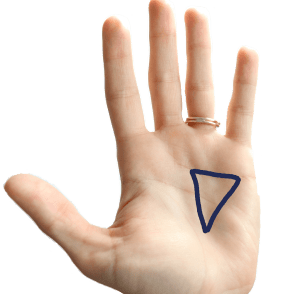 Psychic triangle palm sign of witches