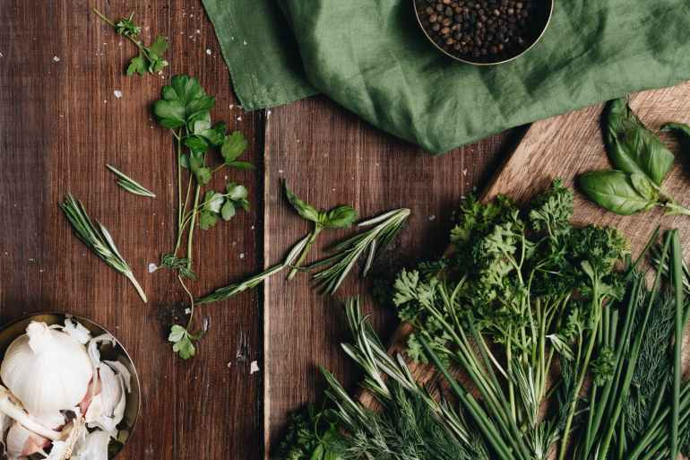 close up photo of green herbs