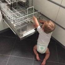 Trénink na kolínkách... Až si stoupne, naučím ho zapínat myčku, pračku a sušičku ;-)